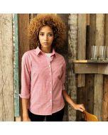 Premier Women's Microcheck (Gingham) Long Sleeve Cotton Shirt