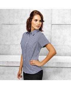 Premier Women's Microcheck (Gingham) Short Sleeve Cotton Shirt