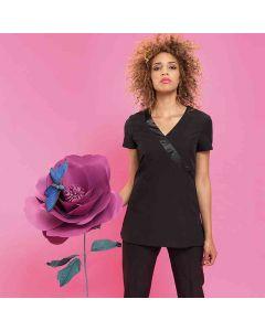 Premier Women's Rose Beauty And Spa Wrap Satin Trim Tunic