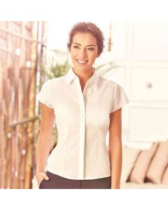Russell Collection Women's Cap Sleeve Polycotton Easycare Fitted Poplin Shirt