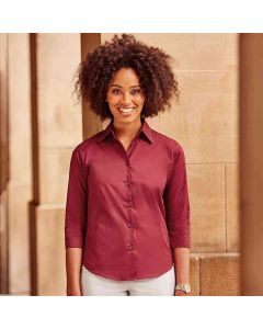 Russell Collection Women's ¾ Sleeve Easycare Fitted Shirt