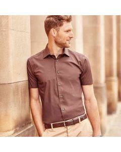 Russell Collection Men's Short Sleeve Easycare Fitted Shirt