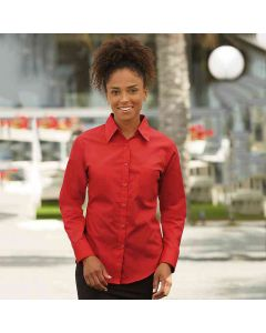 Fruit Of The Loom Women's Lady-Fit Poplin Long Sleeve Shirt